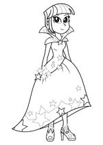 Раскраска - Мой маленький пони: Девочки из Эквестрии - Сумеречная Искорка в праздничном платье