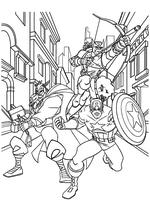 Раскраска - Мстители: Величайшие Герои Земли - Тор, Капитан Америка и Соколиный глаз