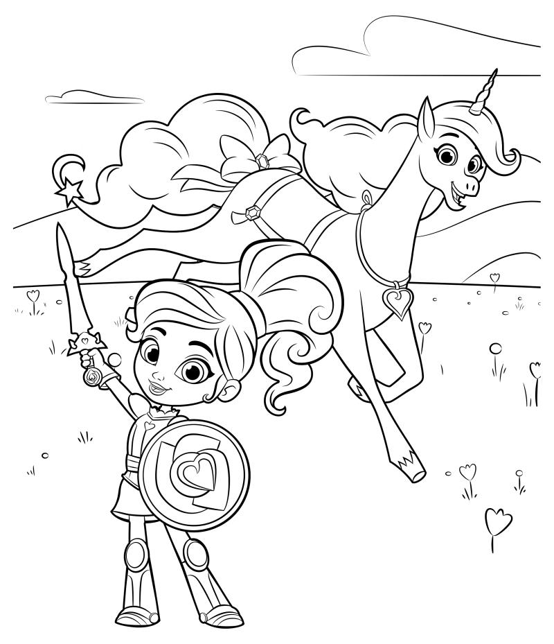 Раскраска - Нелла - отважная принцесса - Нелла в доспехах ...