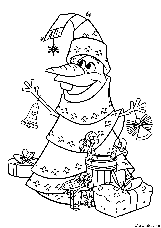 Раскраска - Олаф и холодное приключение - Олаф в роли ёлки ...