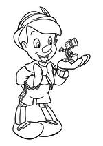 Раскраска - Пиноккио - Сверчок Джимини на руке у Пиноккио