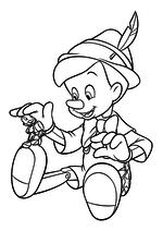 Раскраска - Пиноккио - Пиноккио гладит Джимини