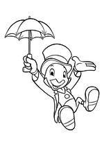 Раскраска - Пиноккио - Джимини парит на зонте