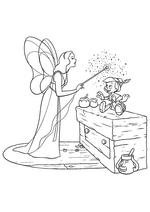 Раскраска - Пиноккио - Голубая Фея оживила Пиноккио