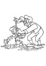 Раскраска - Пиноккио - Джеппетто провожает Пиноккио в школу