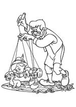 Раскраска - Пиноккио - Джеппетто управляет марионеткой Пиноккио