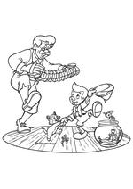 Раскраска - Пиноккио - Джеппетто, Фигаро, Джимини, Пиноккио и Клео