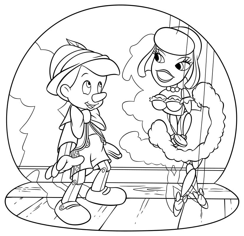 Раскраска - Пиноккио - Пиноккио в кукольном театре