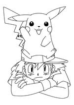 Раскраска - Покемон - Пикачу на Эше