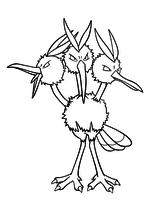 Раскраска - Покемон - 085 - Додрио