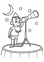Раскраска - Приключения Незнайки и его друзей - Астроном Стекляшкин