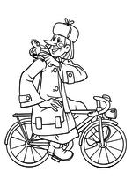 Раскраска Почтальон Печкин и галчонок