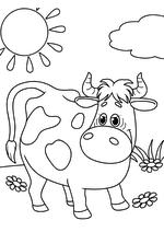 Раскраска - Простоквашино - Корова Мурка