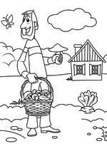 Раскраска - Простоквашино - Папа Дяди Фёдора в Простоквашино
