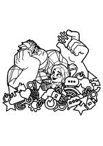 Раскраска - Ральф против Интернета - Скучающий Ральф и радостная Ванилопа