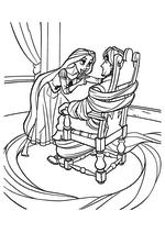 Раскраска - Рапунцель: Запутанная история - Флин Райдер в плену у Рапунцель
