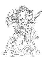 Раскраска - Рапунцель: Запутанная история - Юджин, Рапунцель c Паскалем и Максимус
