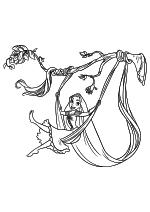 Раскраска - Рапунцель: Запутанная история - Рапунцель с Паскалем качаются на ветке