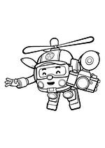 Раскраска - Робокар Поли - Робокоптер Хэлли с фотоаппаратом