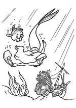 Раскраска - Русалочка - Ариэль и Флаундер исследуют затонувшие корабли