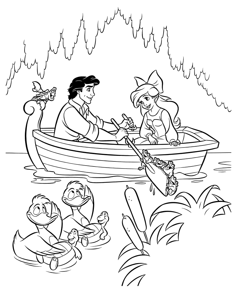 Disney Ariel And Eric Coloring Pages  GetColoringPagescom