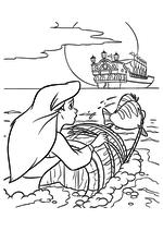 Раскраска - Русалочка - Ариэль с Флаундером плывут за кораблём