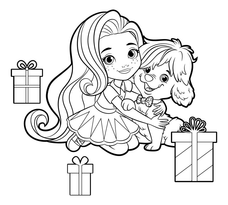 Раскраска - Санни Дэй - Санни и Дудл с подарками