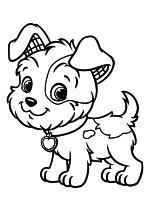 Раскраска - Шарлотта Земляничка: Ягодные приключения - Щенок Сливки Пудинг - Питтер Пэтч
