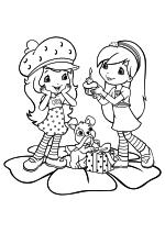 Раскраска - Шарлотта Земляничка: Ягодные приключения - Малинка поздравляет Земляничку с днём рождения