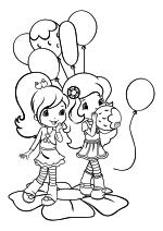 Раскраска - Шарлотта Земляничка: Ягодные приключения - Сливка и Апельсинка на празднике