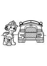Раскраска - Щенячий патруль - Маршал и пожарный фургон