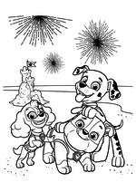 Раскраска - Щенячий патруль - Скай, Крепыш и Маршал на фоне салюта