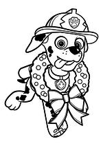 Раскраска - Щенячий патруль - Маршал с рождественским венком