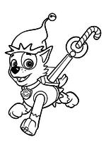 Раскраска - Щенячий патруль - Рокки с карамельной тростью