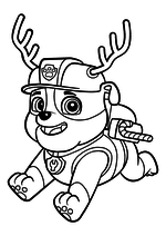 Раскраска - Щенячий патруль - Крепыш с оленьими рогами