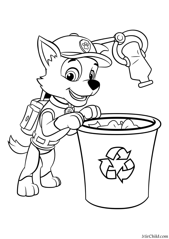 Раскраска - Щенячий патруль - Рокки перерабатывает отходы ...