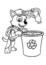 Раскраска - Щенячий патруль - Рокки перерабатывает отходы
