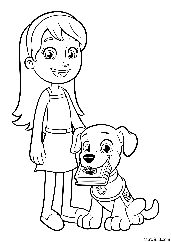 Раскраска - Щенячий патруль - Кейти и щенок-ассистент ...