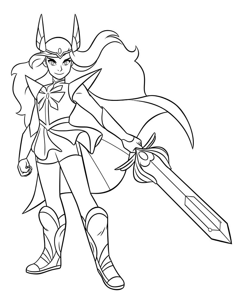 Раскраска - Ши-Ра и непобедимые принцессы - Принцесса Ши-Ра