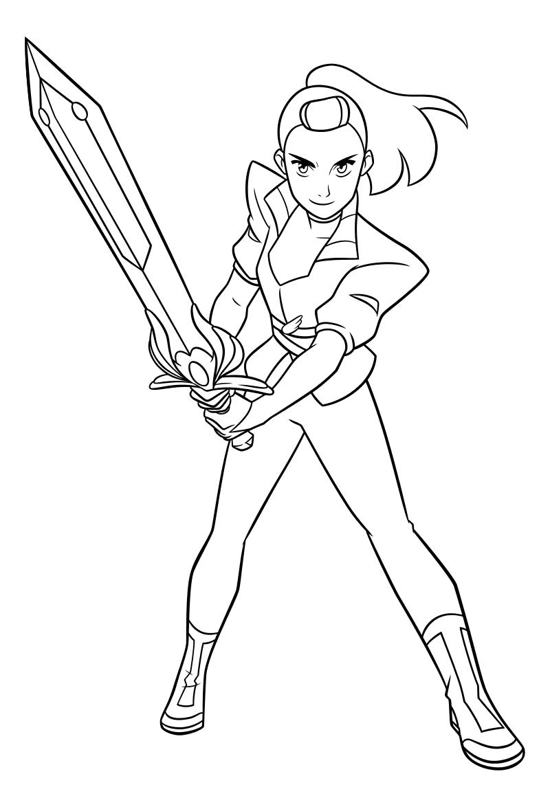 Раскраска - Ши-Ра и непобедимые принцессы - Адора и волшебный меч
