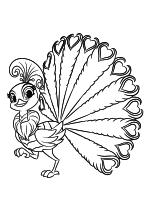 Раскраска - Шиммер и Шайн - Роя - любимый павлин принцессы Самиры