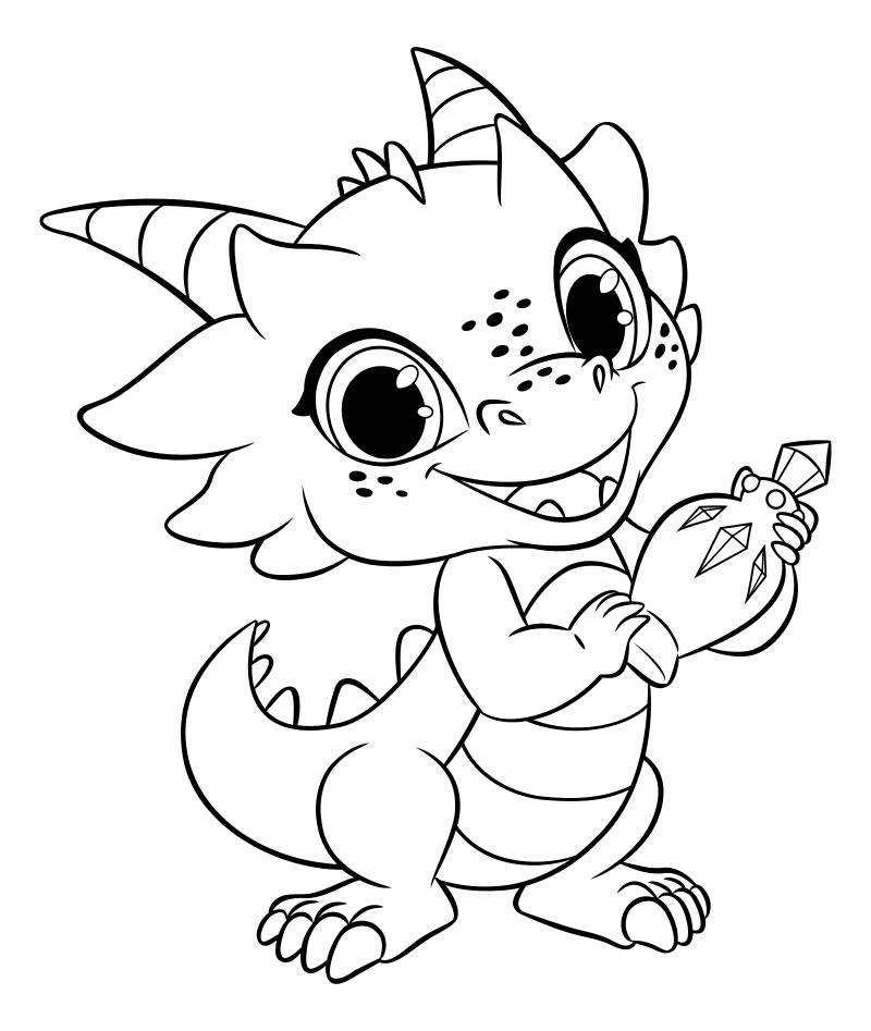 Раскраска - Шиммер и Шайн - Назбу - домашний дракон Зеты