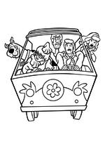 Раскраска - Скуби-Ду - Скуби, Велма, Шэгги, Фред и Дафна в Фургончике тайн