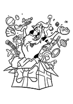Раскраска - Скуби-Ду - Скуби-Ду открыл коробку с подарками
