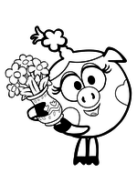 Раскраска Нюша с вазой цветов