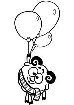 Раскраска - Смешарики - Бараш с воздушными шарами