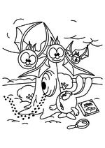 Раскраска - Смешарики - Крош и летучие мыши