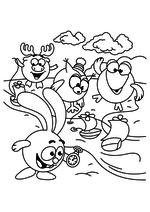 Раскраска - Смешарики - Крош, Лосяш, Совунья и Кар-Карыч пускают кораблики