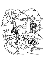 Раскраска - Смешарики - Крош и Ёжик на пробежке