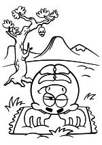 Раскраска - Смешарики - Лосяш занимается йогой